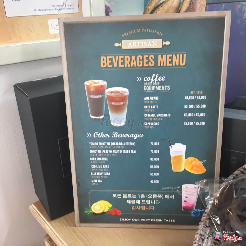 Menu đồ ăn, đồ uống tại Artisan Bakery & Coffee