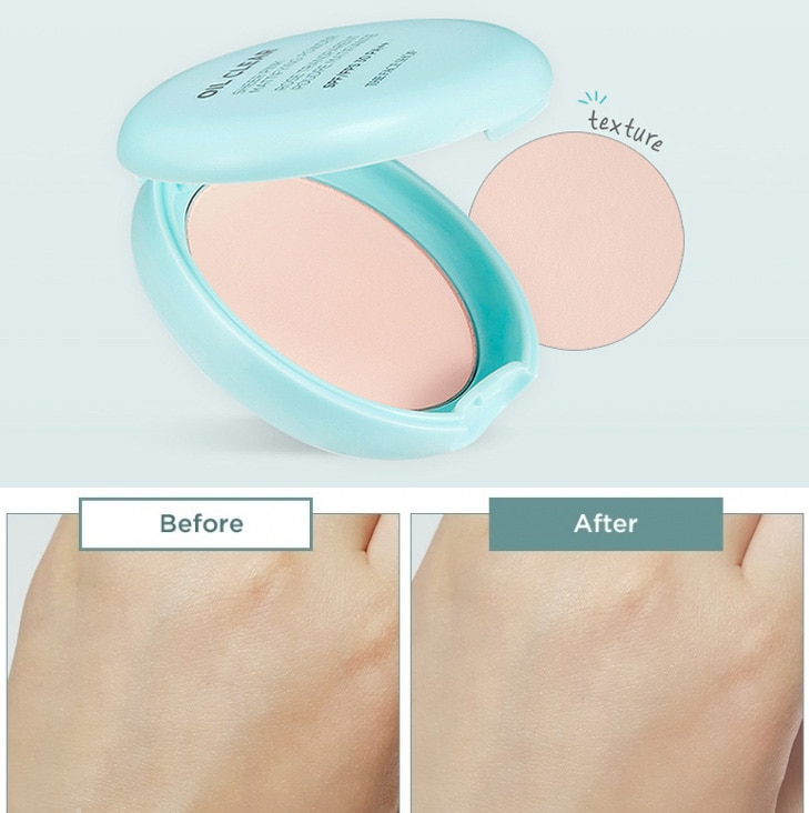 Phấn phủ The Face Shop Oil Clear Sheer Pink Mattifying Powder SPF 30 PA++