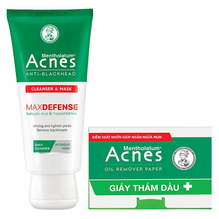 Kem rửa mặt và mặt nạ ngừa mụn đầu đen Acnes Anti-Blackhead Cleanser & Mask