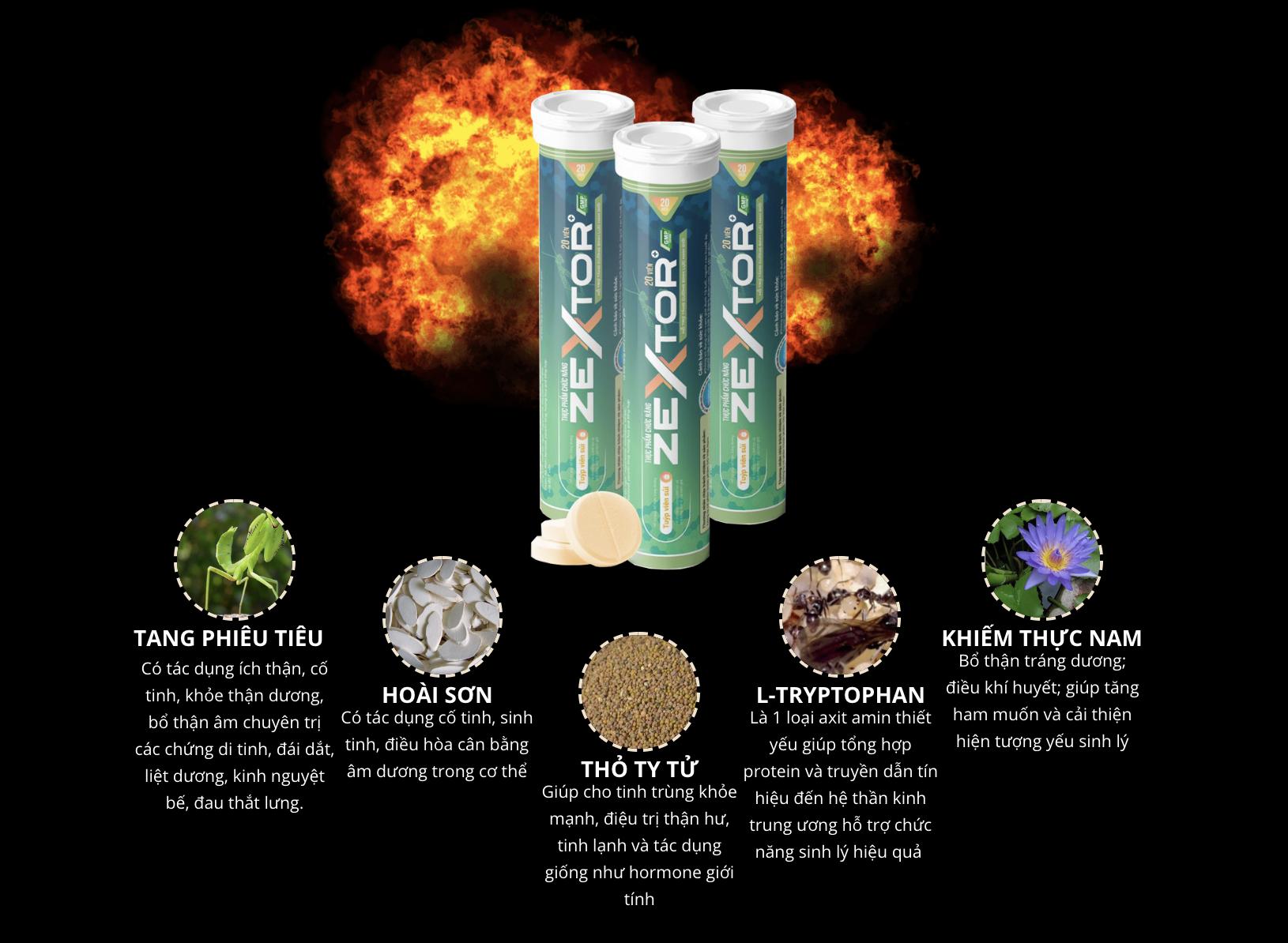 Zextor chứa nhiều thành phần Đông y lành tính