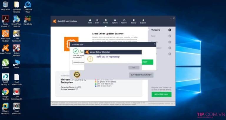Avast Driver Updater sử dụng CSDL Driver trực tuyến