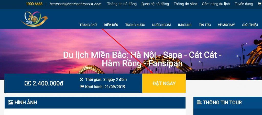 Đặt tour du lịch tại Benthanhtourist.com