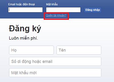 Lấy lại mật khẩu Facebook khi bị mất email và số điện thoại bằng cách Quên tài khoản