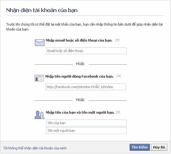 Sử dụng trang cá nhân để lấy lại tài khoản Facebook