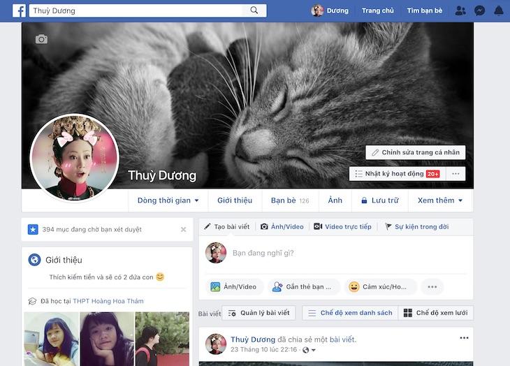 Vào trang cá nhân facebook của mình