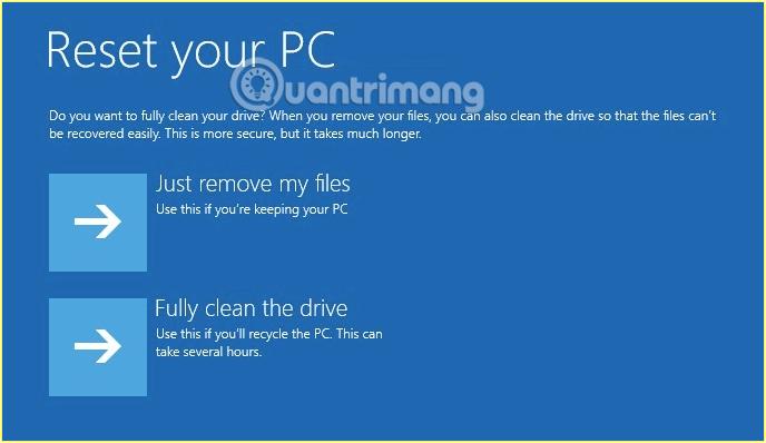 Lựa chọn chỉ xóa file cá nhân hoặc toàn bộ file trên máy