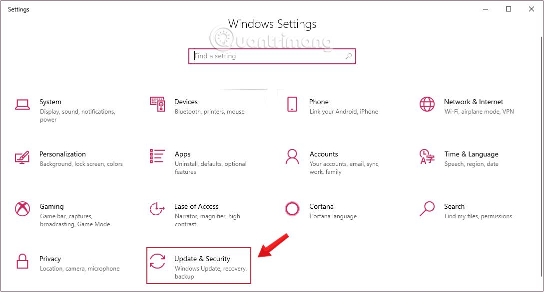 Chọn Update & Security trong cửa sổ Windows Setting