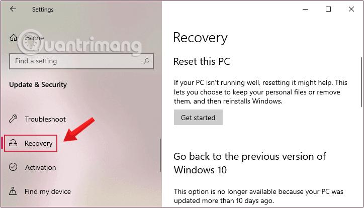 Nhấn chọn Recovery bên tay trái