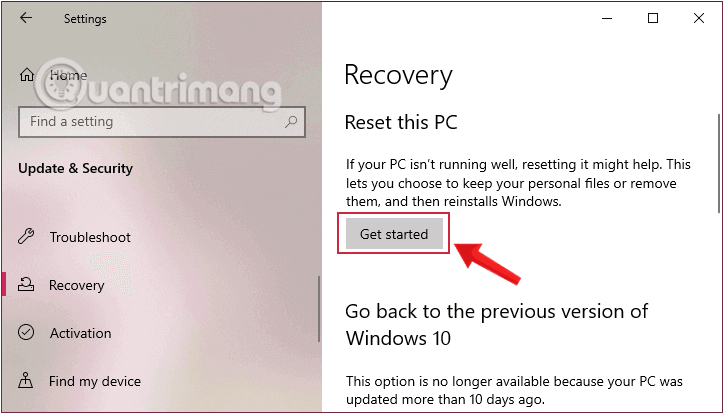 Click vào Get Started trong mục Reset this PC