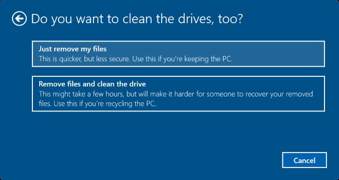 Lựa chọn xóa 1 ổ hoặc tất cả các ổ chứa dữ liệu